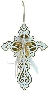 Cruz branca espelhada em Dourado com detalhe em fita-