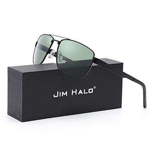 Cuadrados Gafas Hombre Aviador Mujer Negro Marco Polarizadas de Polarizado Conducir Verde Metal Sol de Lentes Anteojos rPxqrRwz