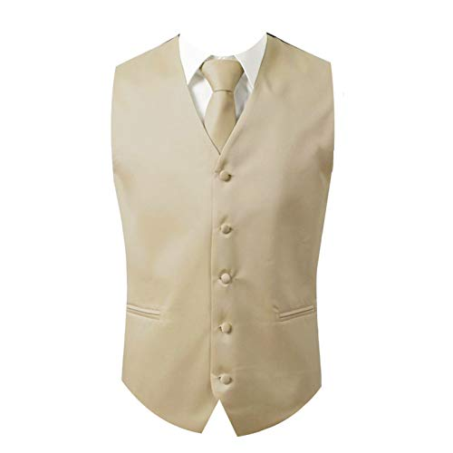 Brand Q 3pc Men's Dress Vest NeckTie Pocket Square Set for Suit or Tuxedo (M (Chest 42), Beige)