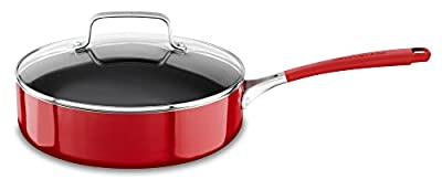 KitchenAid KC2A30ELER Aluminum Nonstick 3.0 quart Saucepan with Lid - Empire Red, Medium