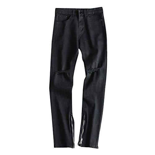 Stretch Distrutto Jeans Retro Slim Uomo Casual Neri Fit Torn Pantaloni Semplice Nero Stile Denim gTTzqwr5
