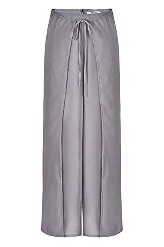 Femme Élégant Haute Large Casual Confortable Vintage Taille Moderne Palazzo Mode Grau D'été Pantalon De Cordon Aéré Femmes Unicolor Soie Mousseline rcv7rS6W1
