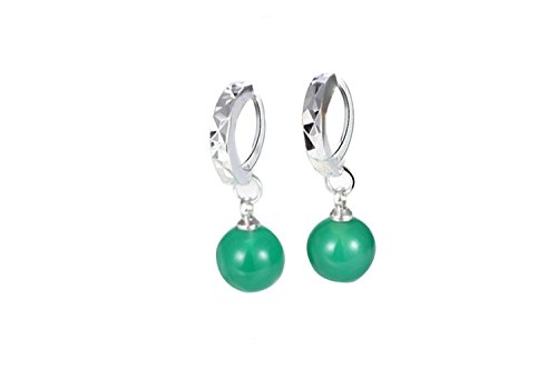 Onefeart White Gold Plated Drop Earrings Dangle Earrings for Women Green Agate 8MM Green
