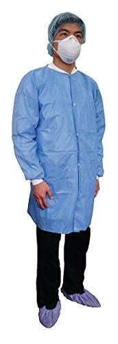 (Disposable Lab Coat, Basic SMS, Blue, L)