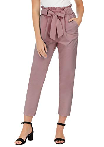GRACE KARIN Women's Pants Trouser Slim Casual Cropped Paper Bag Waist Pants with Pockets (X-Large, Puce)