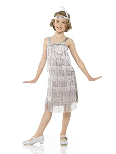 Karnival Costumes Flapper Costume Girls, 20s Dress with Headband, Kids 7-8 Years, Silver, Large
