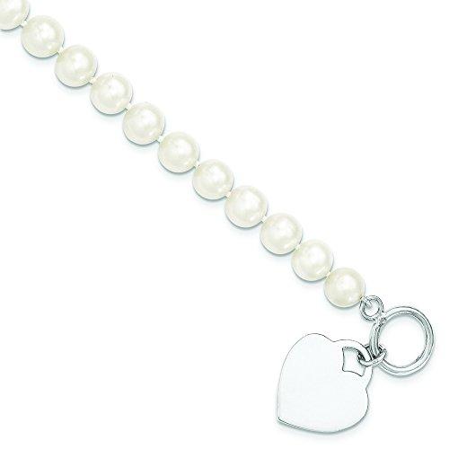 8-9 mm-Argent 925/1000-Perle de culture Blanc avec cœur-Fw bascule JewelryWeb - 19 cm