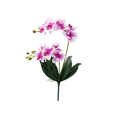 V Artificial Flower Real Touch Latex 2 Branch Orchid Flowers with Leaves Wedding Decoration Flores,E