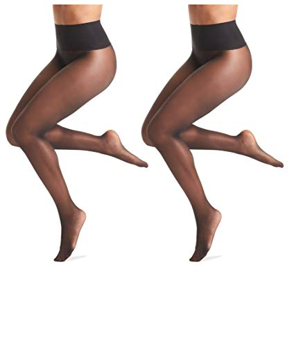 Warner's Women's No Digging Seamless Sheer Tights (2 Pack), Black/Black, Size Medium