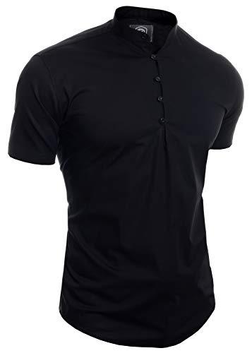 D & R Fashion Camisa de Manga Corta para Hombres Collar de Abuelo Casual Inteligente Ajustado Algodón Cuello en V