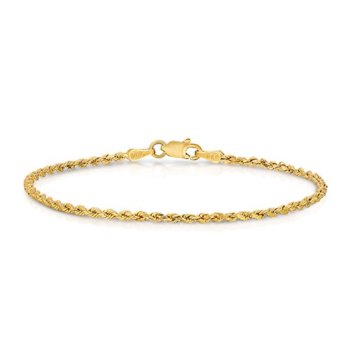 10k Yellow Gold Diamond Cut Hollow Rope Chain Bracelet and Anklet for Men & Women, 2mm