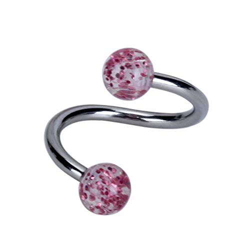 Steel Twist Circular Ball Belly Navel Ring Loop 14G Body Piercing Stud