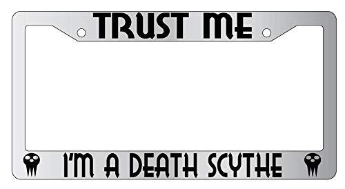 Yohoba Trust Me I'm A Death Scythe Chrome Metal License Plate Frame Soul Eater