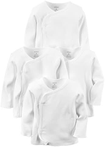 Carter's Unisex 4 Pack Long Sleeve Side Snap Mitten Cuff Shirt