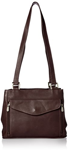 Piel Leather Double Compartment Shoulder Bag, Chocolate