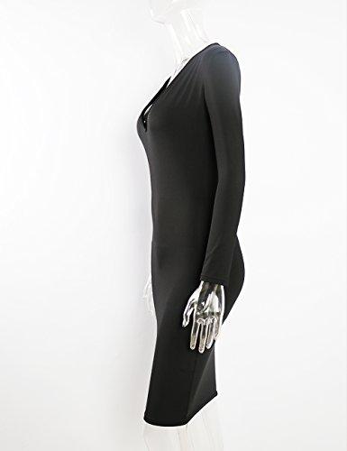 Winter Fabric Sexy Bandage Party 2018 White Neck Night Dresses V Black Red Deep Sleeve Club Warm Wear UZZDSS Bodycon Black Long tqfw5FF6