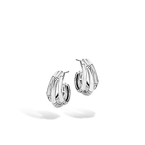 John Hardy Women's Bamboo Silver Small J Hoop Earrings (Length 22mm)