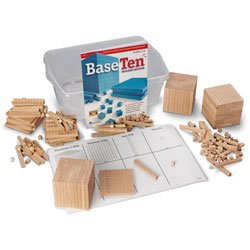 Nasco Wooden Base 10 Block Place Value Set - Math Education Program - TB12719 (Cubes Place Value)