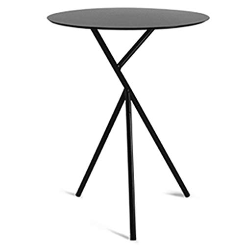 ZZHF changtoukui Side Table, Iron Art Stable Side Table Multifunction Simple Sofa Side Small Tea Round Table Balcony Leisure Coffee Table Bedroom Bedside Table (Color : Black)