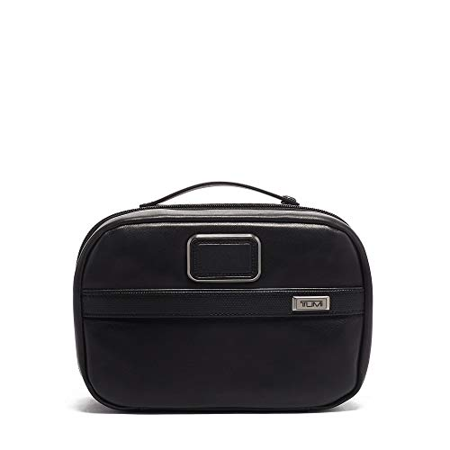 (TUMI - Alpha 3 Leather Split Travel Kit - Luggage Accessories Toiletry Bag for Men and Women - Black)