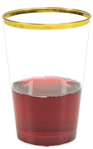 (Glam 50-Pack Gold Plastic Cups, 12-Ounce | 12 Oz Gold Cups | Thin Gold Rimmed Plastic Cups, 12oz | Plastic Wine Glasses for Parties)