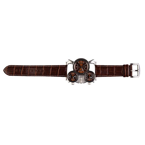 UEB Oulm Men's Watch with Brown 3-Movt Dial Brown 23mm Stainless Steel Band