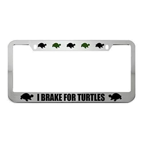 Speedy Pros I Brake for Turtles Zinc Metal License Plate Frame Car Auto Tag Holder - Chrome 2 Holes