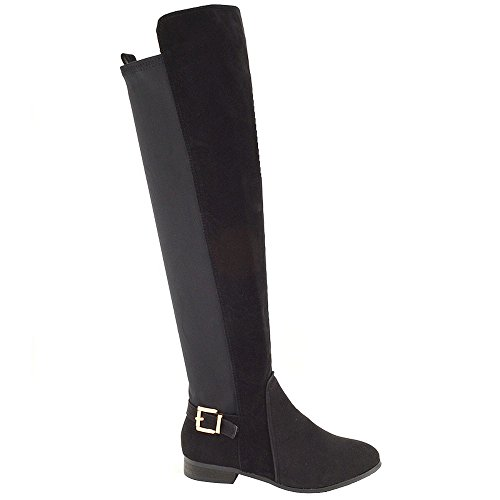 ESSEX GLAM Ladies Over The Knee High Flat Pull On Buckle Elasticated stretch Womens Boots Siz 3 4 5 6 7 8 Black Faux Suede