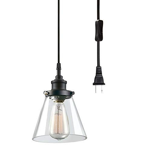 - Globe Electric 65580 Jackson 1-Light Plug-in Pendant, Matte Black