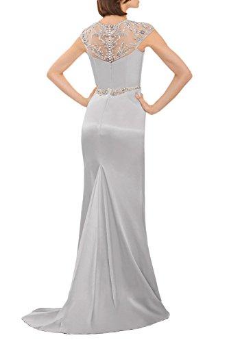 Milano Bride 2017 Hochwertig Silber Steine Abendkleider Partykleider  Promkleider Meerjungfrau Lang