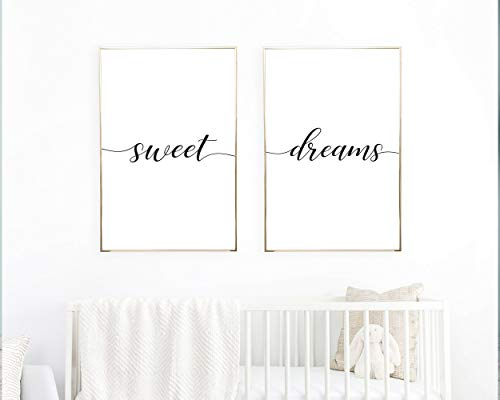 TimPrint Sweet Dreams Wall Art Sweet Dreams Print Set of 2 Prints Bedroom Wall Art Minimalist Poster Above Crib Art Above Decor Framed Print Wall Art
