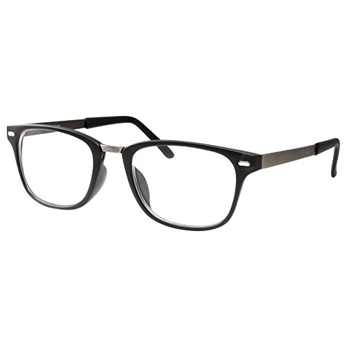 (Computer Glasses - Reduce Eye Strain - Gaming Reading - Clear Lens, No Strength Black)