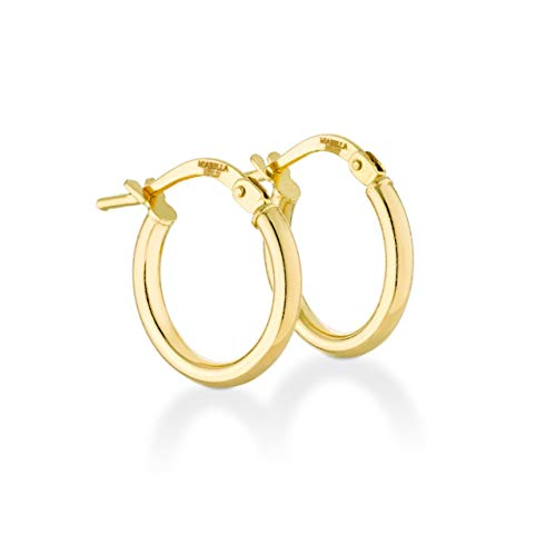 Hoop 15mm Gold Earrings - Miabella 18K Gold Over Sterling Silver Italian 2mm Polished Round Hoop Earrings for Women Men 15mm, 20mm, 30mm, 40mm (15)