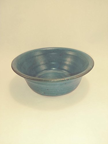 Aunt Chris' Pottery - Limited Edition - Saucier/ Bowl - Glazed Primitive Green - Hand Made Clay - Many Uses: Dresser Dish, Side Plate, Salad Plate, Ice Cream Dish, Pet - Small Bowl Handmade