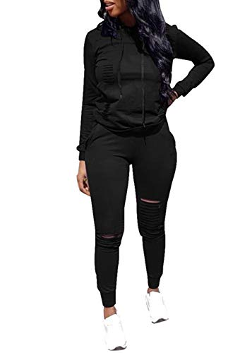 (Women Casual Ripped Hole Pullover Hoodie Sweatpants 2 Piece Sport Jumpsuits Outfits Set (Black, XXXL))