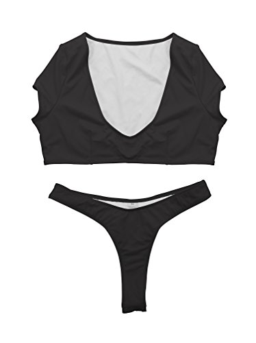 YFFaye Black Stretch Stylish Brazilian Cheeky Bottom Thong High Neck 2 Pieces Bikini Swimsuit