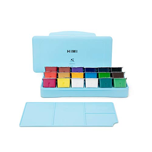 MIYA HIMI Gouache Paint Set 18 Colors (30ml/Pc) Paint Set Unique Jelly Cup Design Non Toxic Paints for Artist, Hobby Painters & Kids, Ideal for Canvas Painting for Novelty Gift (Blue)