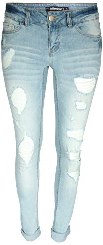(dollhouse Women\'s Distressed Roll Cuff Stretch Denim Skinny Jeans, Light, Size)