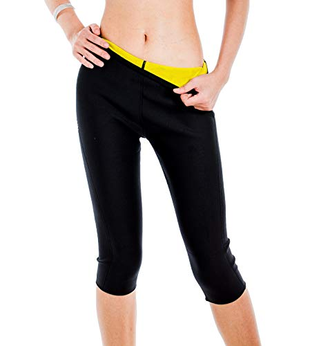 Valentina Womens Slimming Pants Hot Thermo Neoprene Sweat Sauna Body Shapers, Black Medium