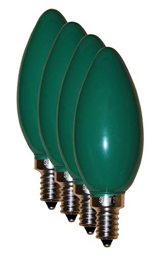 Cheap SleekLighting 6 Watt E12 LED Filament Candelabra Green Light Bulb, dimmable (60W Incandescent Replacement) Chandelier Torpedo Tip, Frosted Green Glass Cover E12 Base 4pack