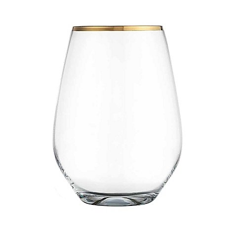 Home Essentials & Beyond Cellini Gold-Rim Stemless Wine Glasses (Set of 4)