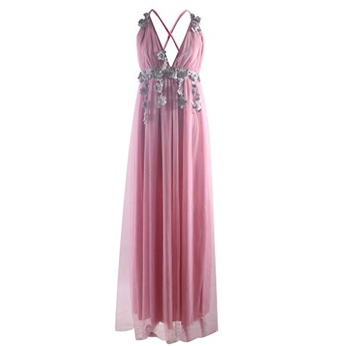 Sling Chiffon Dress Ladies V-Neck Halter high Waist Sleeveless Wedding Evening Dress Slim Sexy lace Dress MEEYA Pink