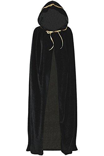 SENSERISE Unisex Long Halloween Hooded Cloak Costume Party Cosplay Velvet Capes -