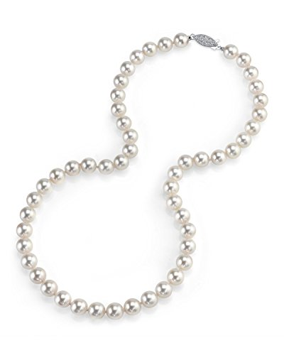 "THE PEARL SOURCE 14K Gold 7.5-8.0mm AAA Quality Round Genuine White Japanese Akoya Saltwater Cultured Pearl Necklace in 17"" Princess Length for Women"