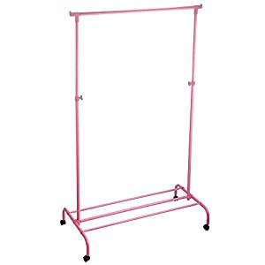 Home Vida Single Garment Rack Adjustable Clothes Rail, Metal, Pink