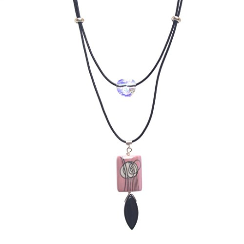Abstract Pendant Multistrand Necklace - Light Pink Porcelain, Swarovski Heart AB, Black Leather, Sterling Silver, 2.5 & 18.5-in Double Puffed Hearts