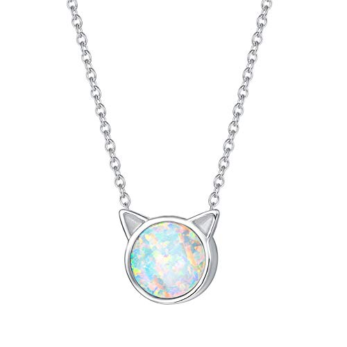 FANCIME Sterling Silver Cat Necklace Blue / White Created Opal Cat Ear Pendant Cute Necklace Tiny Dot Round Disc Jewerly For Women Girls 18