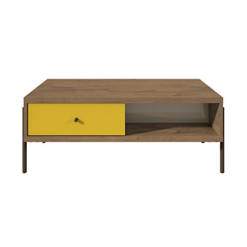 Manhattan Comfort 350643 Joy Series Modern Double Sided Coffee Table, Yellow
