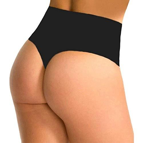 RON BILLY Thong Shapewear for Women Body Shaper High Waist G-String Panties Underwear Black (Wear G-string)