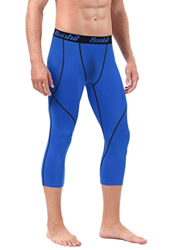 Runhit Mens 3/4 Compression Leggings Pants Capri Shorts Baselayer Cool Dry Sport Tights Blue